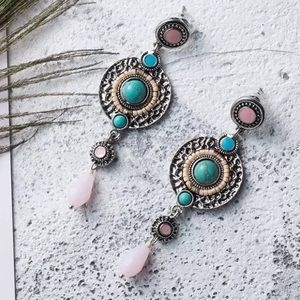 Jewelry - BOGO! Retro Inspired Drop Earrings Pink Turquoise